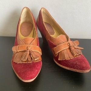 Anthropologie Maroon + Leather Heel, Size 6.5